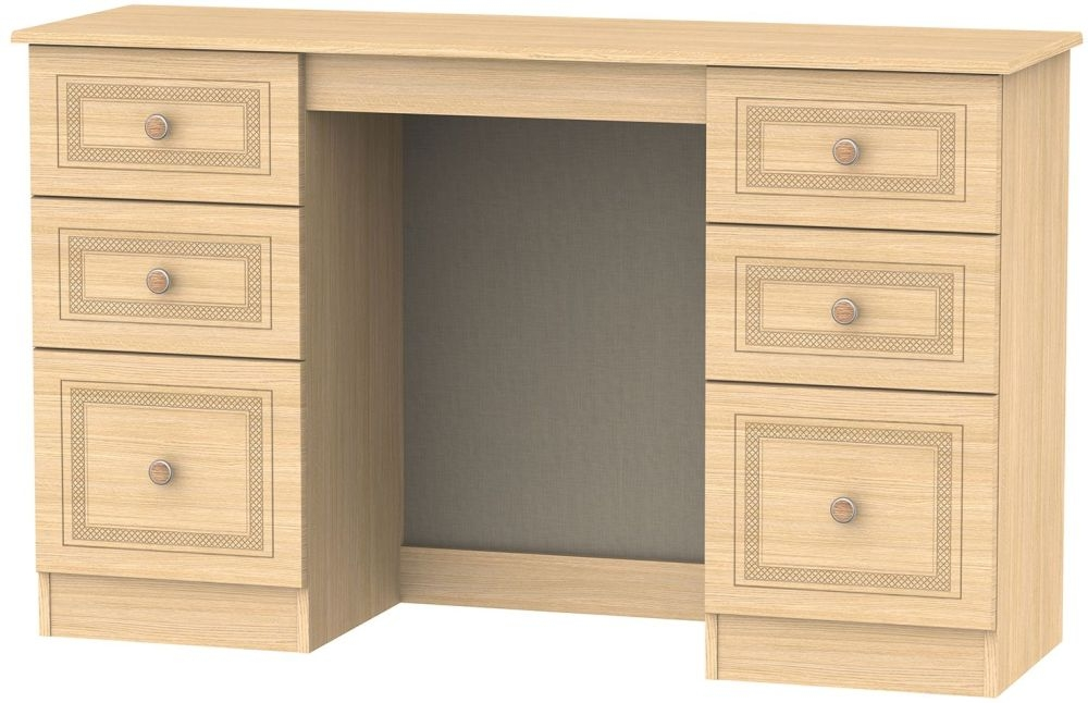 Corrib Light Oak Dressing Table - Knee Hole Double Pedestal
