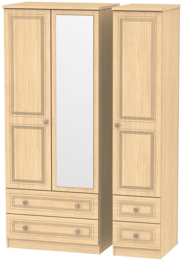 Corrib Light Oak Triple Wardrobe - Mirror with Drawer