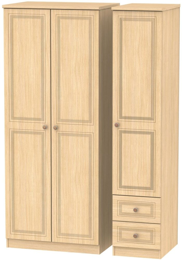 Corrib Light Oak Triple Wardrobe - Plain with 2 Drawer