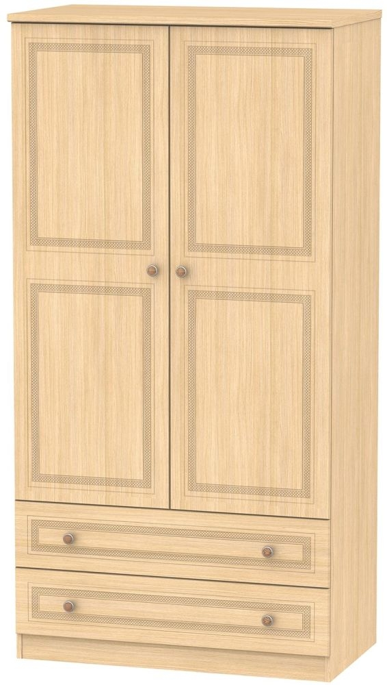 Corrib Light Oak Wardrobe - 3ft with 2 Drawer