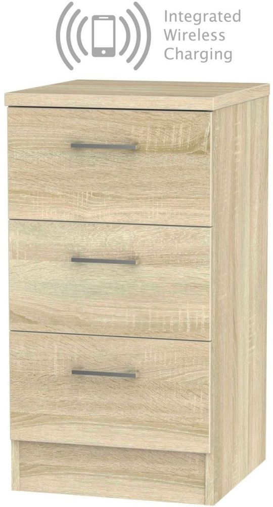 Devon Bardolino 3 Drawer Bedside Cabinet with Integrated Wireless Charging