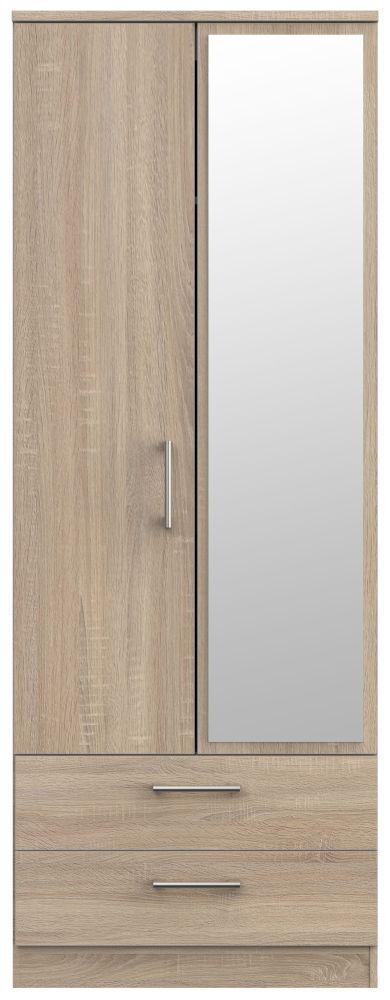Devon Bardolino 2 Door Tall Mirror Wardrobe
