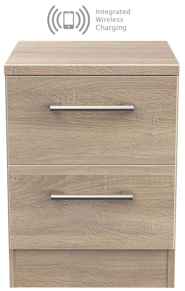 Devon Bardolino 2 Drawer Bedside Cabinet with Integrated Wireless Charging