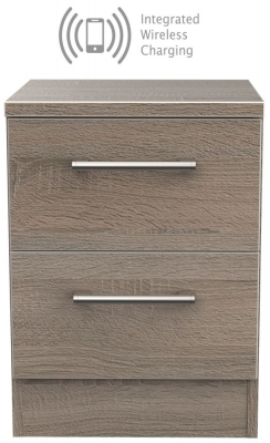 Devon Darkolino 2 Drawer Bedside Cabinet with Integrated Wireless Charging
