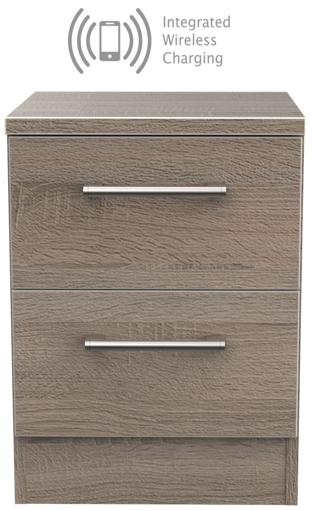 Devon Darkolino 2 Drawer Bedside Cabinet with Integrated Wireless Charging