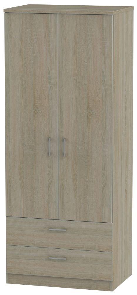 Devon Darkolino Wardrobe - 2ft 6in with 2 Drawer