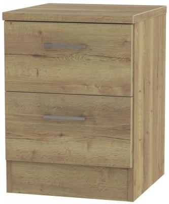 Devon Stirling Oak Bedside Cabinet - 2 Drawer Locker