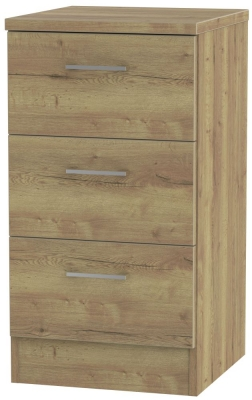 Devon Stirling Oak Bedside Cabinet - 3 Drawer Locker