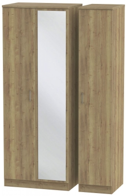 Devon Stirling Oak 3 Door Mirror Wardrobe