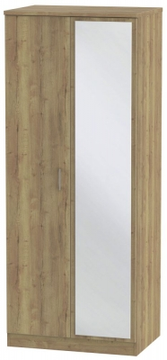 Devon Stirling Oak 2 Door Mirror Wardrobe