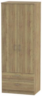 Devon Stirling Oak 2 Door 2 Drawer Tall Wardrobe