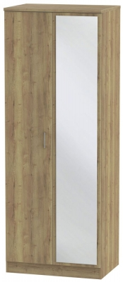 Devon Stirling Oak 2 Door Tall Mirror Wardrobe