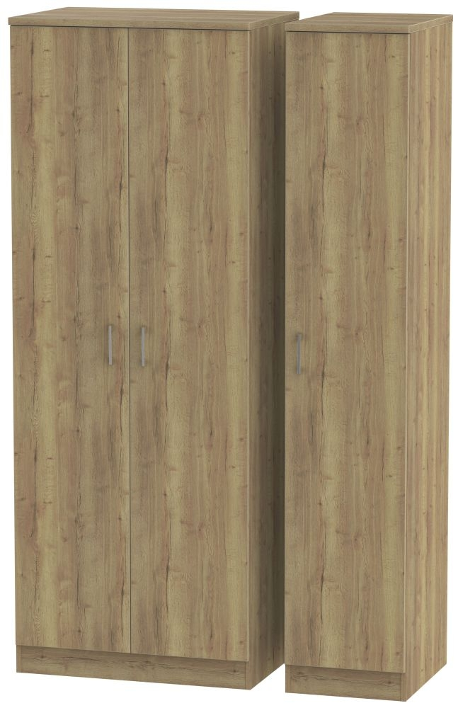 Devon Stirling Oak Triple Wardrobe - Tall Plain