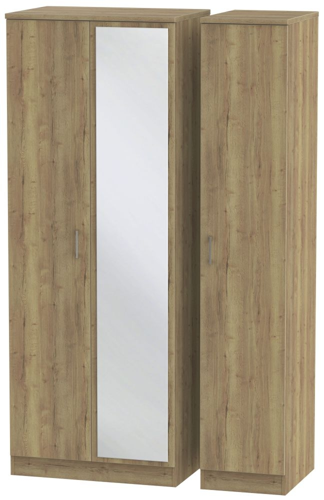 Devon Stirling Oak 3 Door Tall Mirror Triple Wardrobe