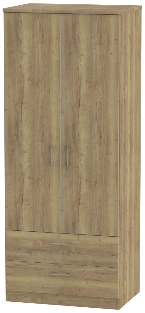Devon Stirling Oak Wardrobe - 2ft 6in with 2 Drawer