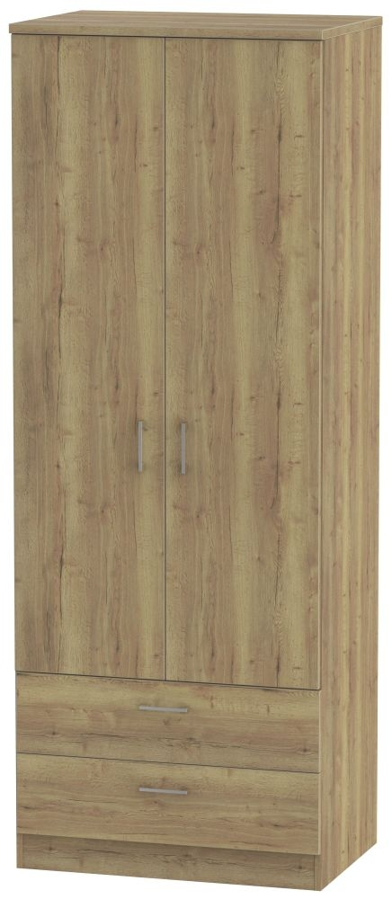 Devon Stirling Oak 2 Door 2 Drawer Tall Wardrobe