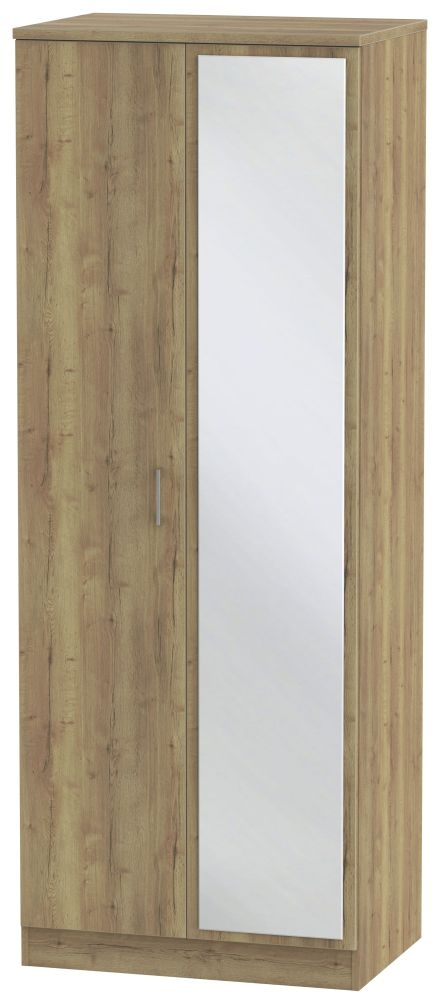 Devon Stirling Oak 2 Door Tall Mirror Double Wardrobe