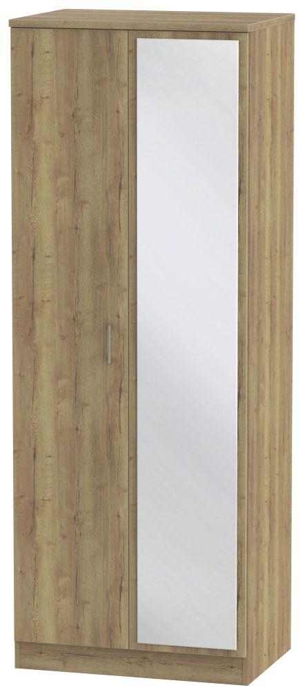 Devon Stirling Oak 2 Door Tall Mirror Wardrobe