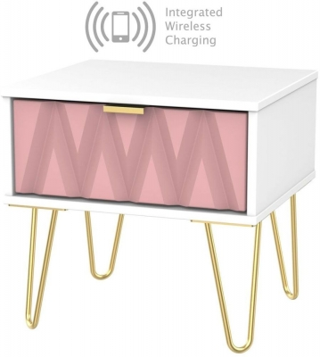 Diamond 1 Drawer Bedside Cabinet with Hairpin Legs and Integrated Wireless Charging - Kobe Pink and White
