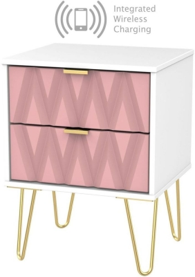 Diamond 2 Drawer Bedside Cabinet with Hairpin Legs and Integrated Wireless Charging - Kobe Pink and White