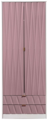 Diamond 2 Door 2 Drawer Wardrobe - Kobe Pink and White