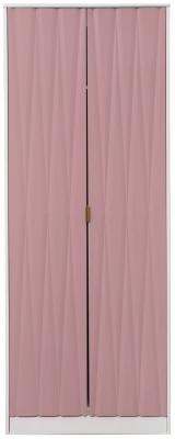 Diamond 2 Door Wardrobe - Kobe Pink and White