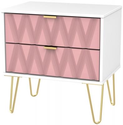 Diamond 2 Drawer Midi Chest with Hairpin Legs - Kobe Pink and White