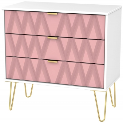 Diamond 3 Drawer Chest with Hairpin Legs - Kobe Pink and White