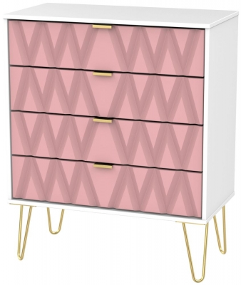 Diamond 4 Drawer Chest with Hairpin Legs - Kobe Pink and White