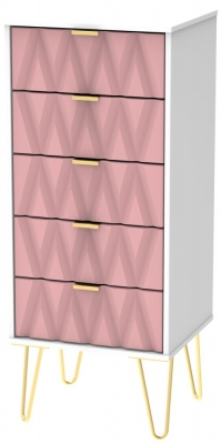 Diamond Tall Bedside Cabinet with Hairpin Legs - Kobe Pink and White