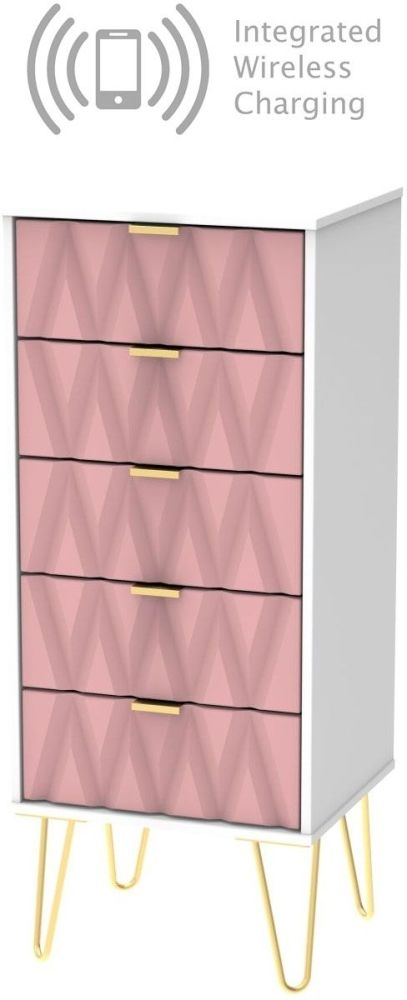 Diamond Tall Bedside Cabinet with Hairpin Legs and Integrated Wireless Charging - Kobe Pink and White