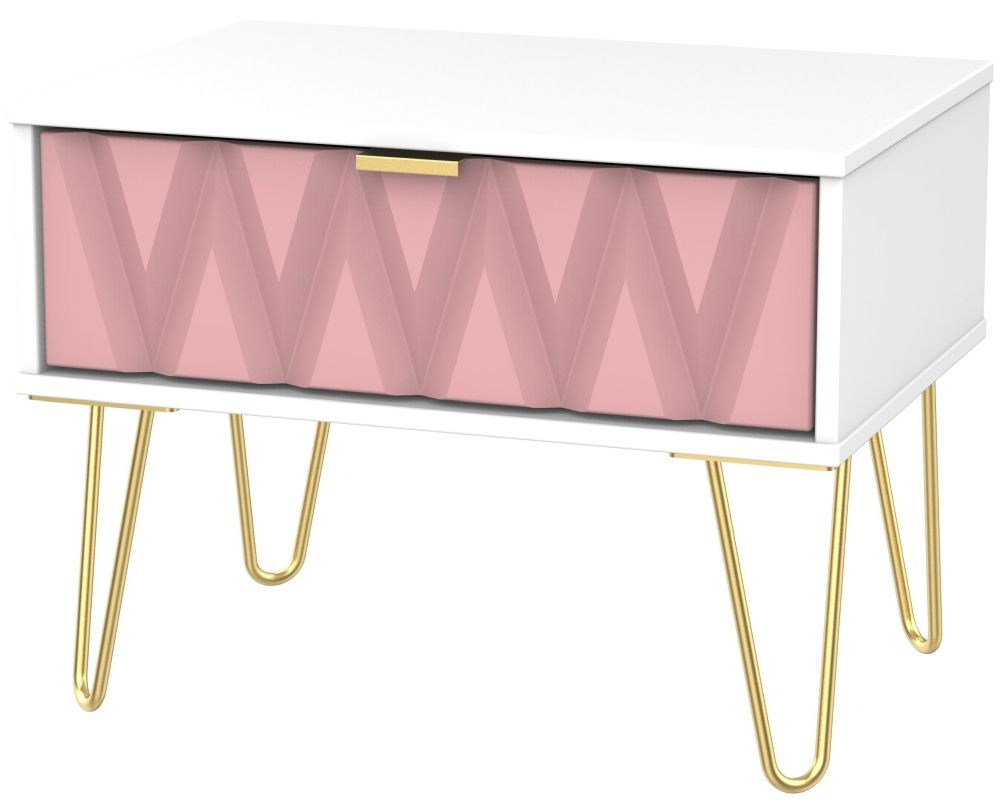 Diamond 1 Drawer Midi Chest with Hairpin Legs - Kobe Pink and White