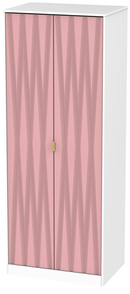 Diamond 2 Door Wardrobe - Kobe Pink and White