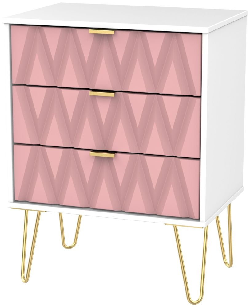 Diamond 3 Drawer Midi Chest with Hairpin Legs - Kobe Pink and White