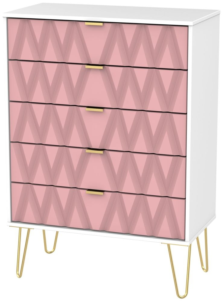 Diamond 5 Drawer Chest with Hairpin Legs - Kobe Pink and White