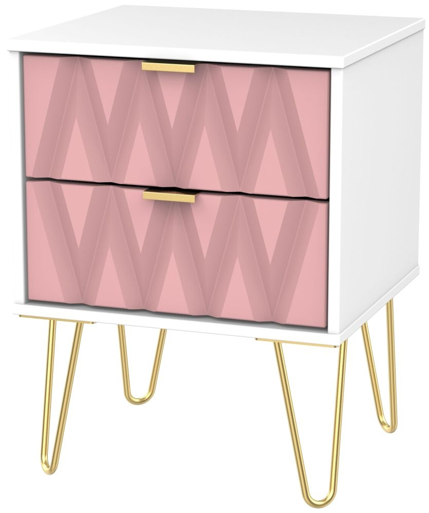 Diamond 2 Drawer Bedside Cabinet with Hairpin Legs - Kobe Pink and White