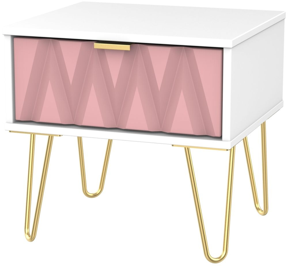 Diamond 1 Drawer Bedside Cabinet with Hairpin Legs - Kobe Pink and White