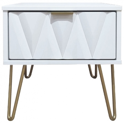 Diamond White 1 Drawer Bedside Cabinet with Hairpin Legs
