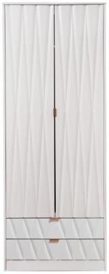 Diamond White 2 Door 2 Drawer Wardrobe