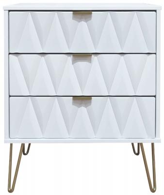 Diamond White 3 Drawer Midi Chest with Hairpin Legs