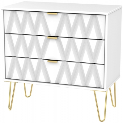 Diamond White 3 Drawer Midi Chest with Hairpin Legs