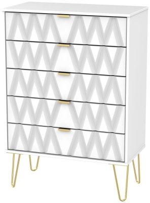 Diamond White 5 Drawer Chest with Hairpin Legs