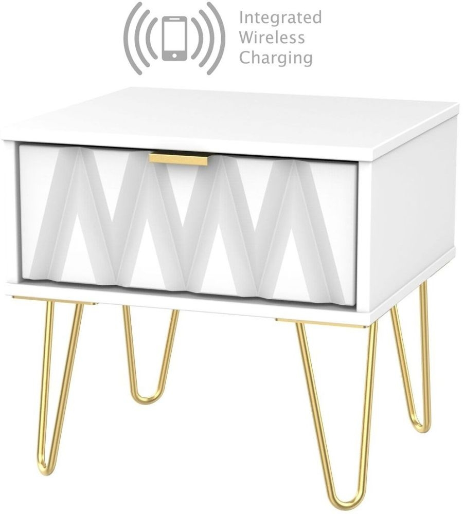 Diamond White 1 Drawer Bedside Cabinet with Hairpin Legs and Integrated Wireless Charging