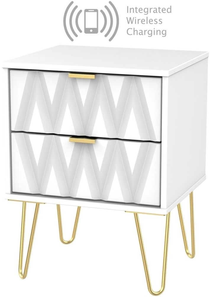 Diamond White 2 Drawer Bedside Cabinet with Hairpin Legs and Integrated Wireless Charging