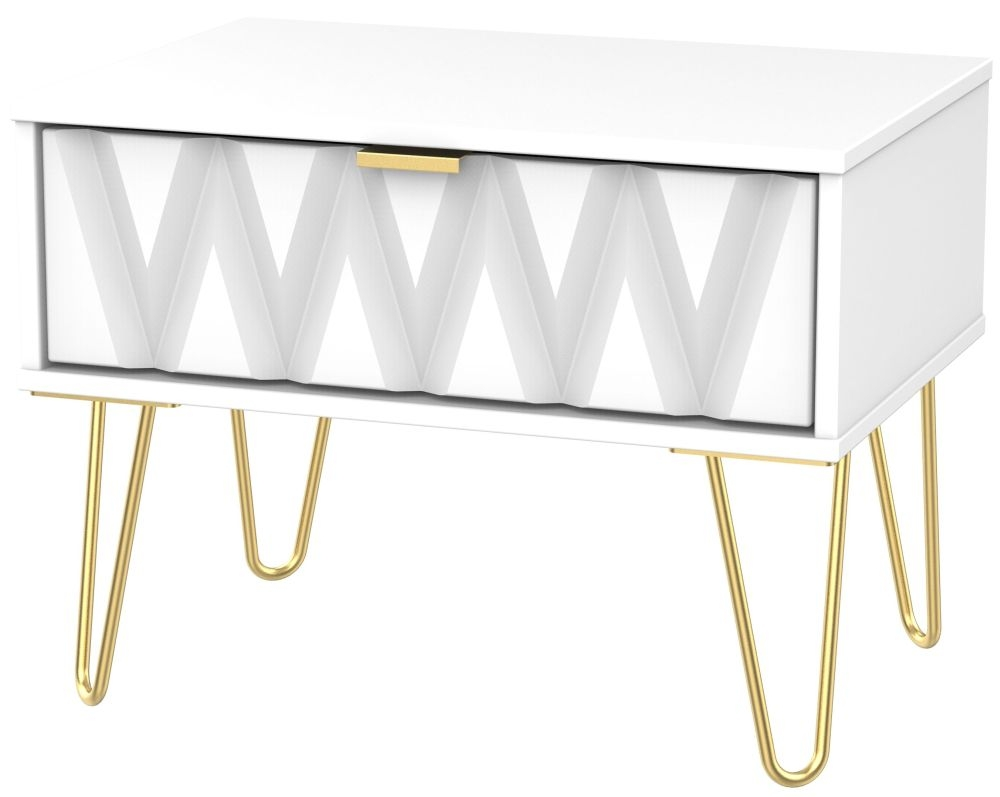 Diamond White 1 Drawer Midi Chest with Hairpin Legs