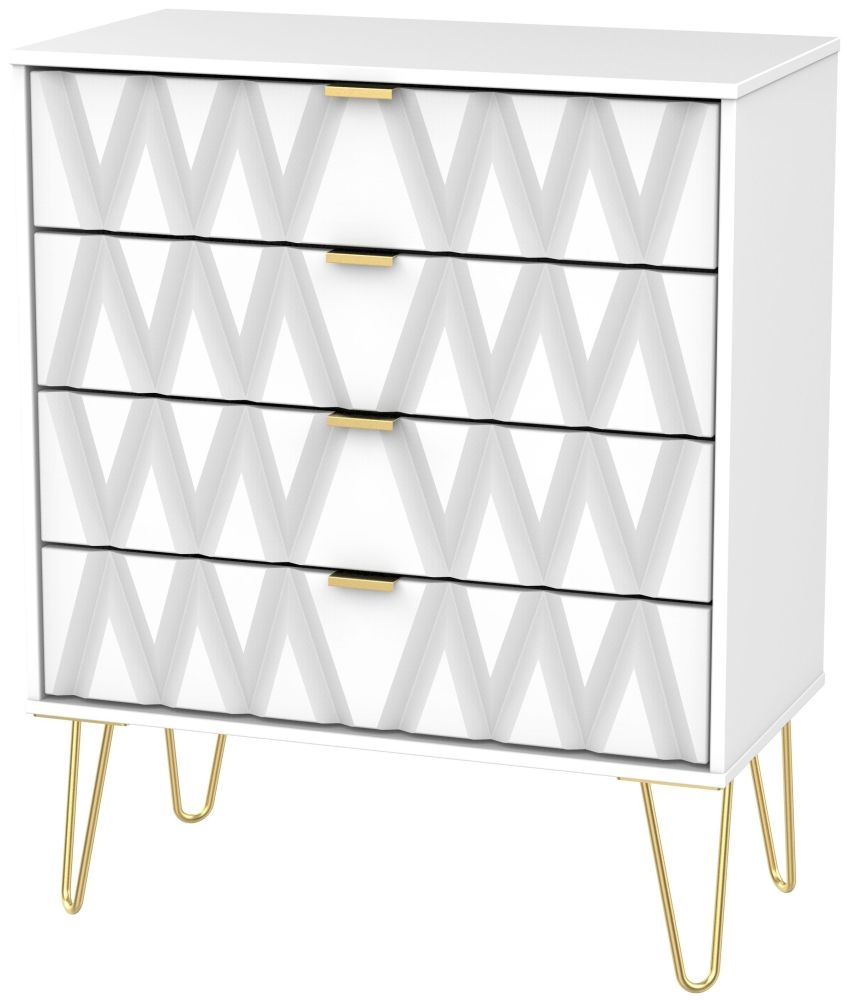 Diamond White 4 Drawer Chest with Hairpin Legs
