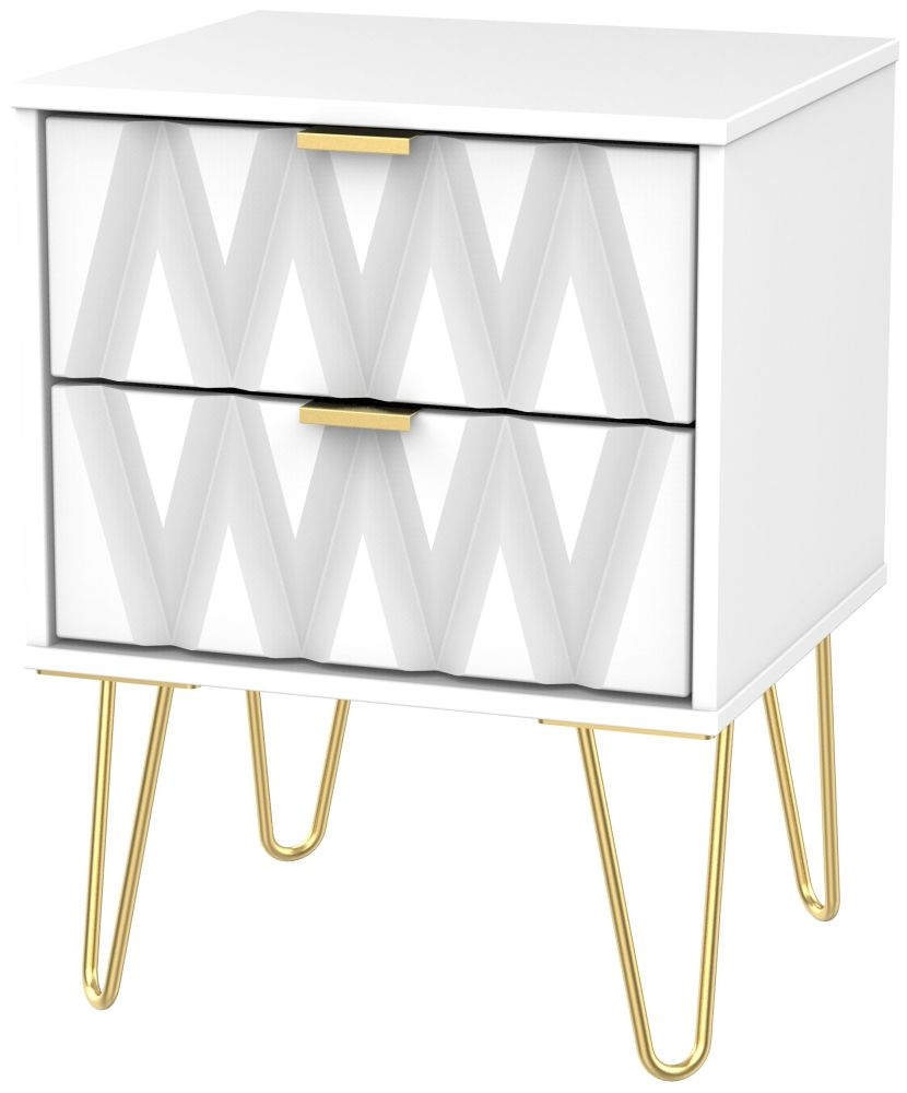 Diamond White 2 Drawer Bedside Cabinet with Hairpin Legs