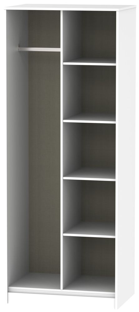 Diamond White Open Shelf Wardrobe