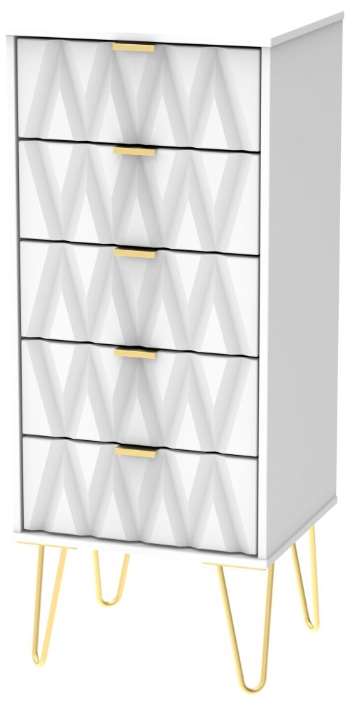 Diamond White Tall Bedside Cabinet with Hairpin Legs