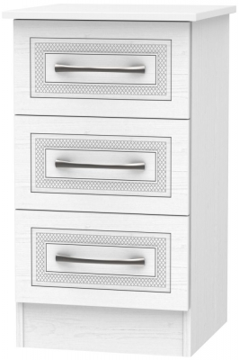 Dorset White 3 Drawer Bedside Cabinet